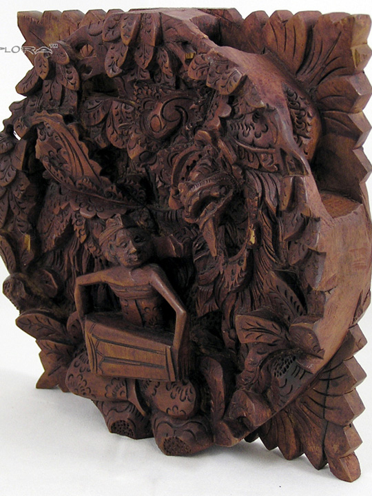 Wall Panel Wood Carving 3D Relief Barong Dance