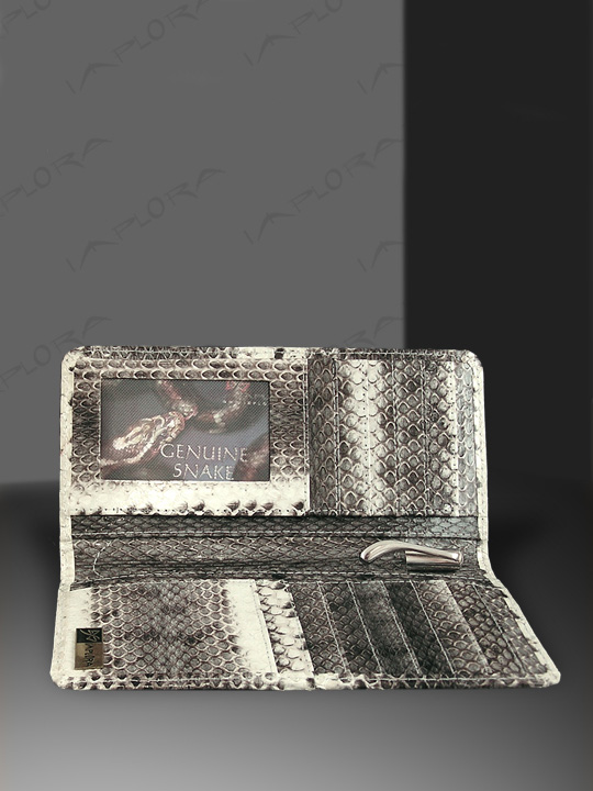 Implora Natural Dog-Faced Snakeskin Checkbook Wallet