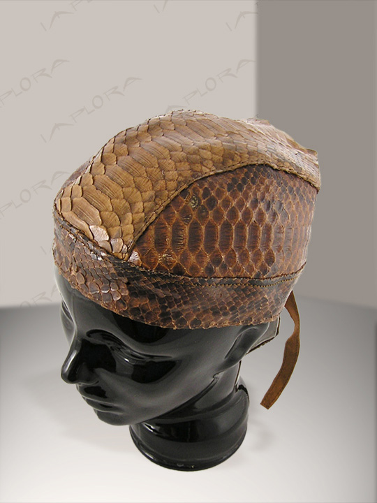 Snakeskins Brown Big Python Snakeskin Doorag Head Wrap