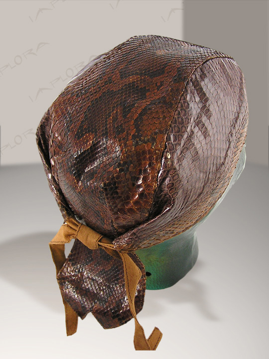 Brown Burmese Snakeskin Doorag Head Wrap