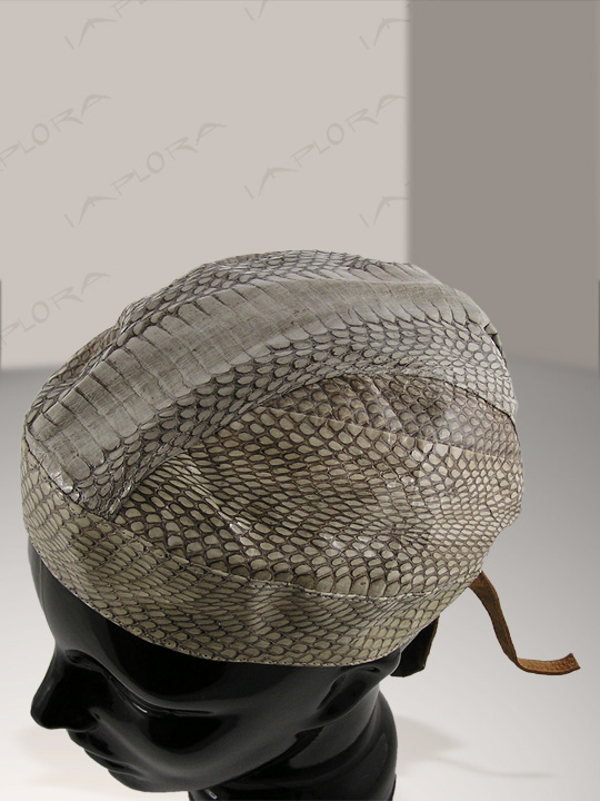 Snakeskins Natural Cobra Snakeskin Biker Head Wrap Cloth Inlay