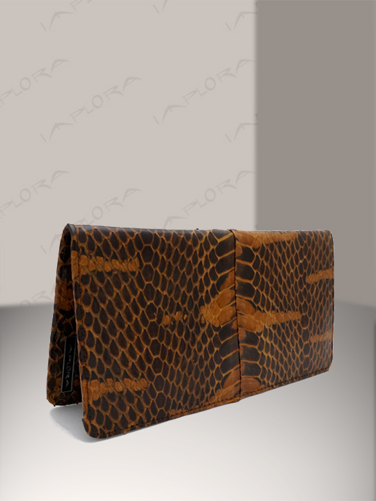 Snakeskins Implora Brown Mangrove Checkbook Wallet