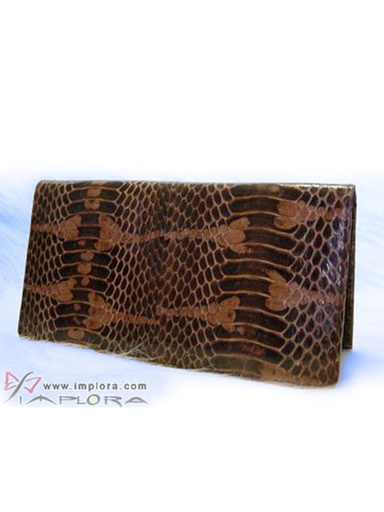 Snakeskins Implora Brown Mangrove Checkbook Wallet Belly