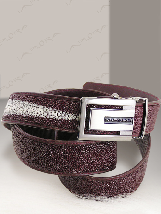 Stingray Leathers Implora Burgundy Stingray Leather Belt