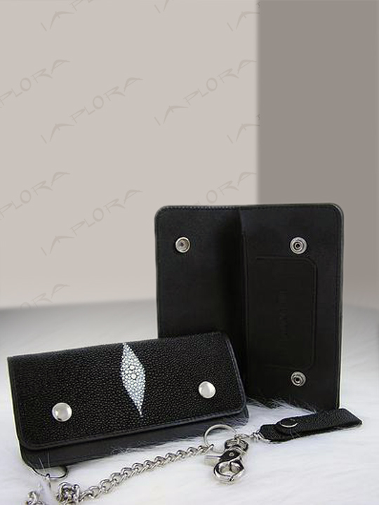 Stingray Leathers Implora Black Stingray Biker Long Wallet w/ Chain
