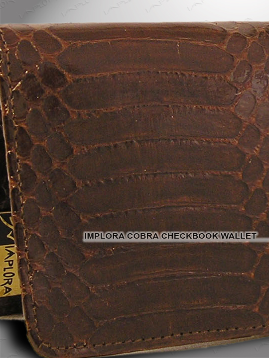 Implora Brown Cobra Snakeskin Checkbook Wallet, Belly