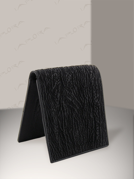 Leather Implora Black Shark Skin Bifold Wallet