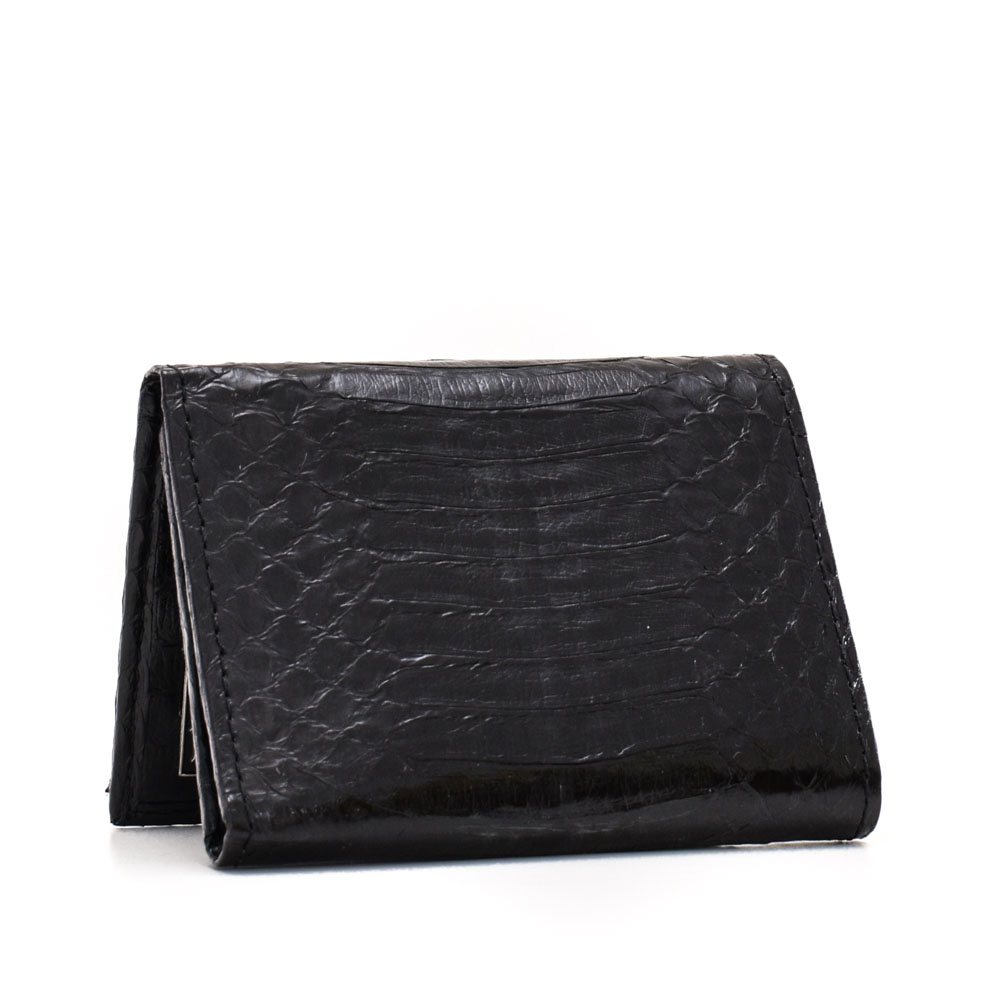 Snakeskins Implora Black Cobra Trifold Wallet, Belly