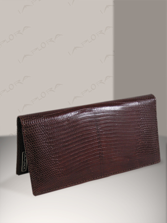 Leather Implora Brown Monitor Lizard Checkbook Wallet, Bly