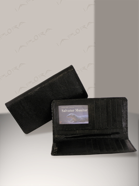 Leather Implora Black Monitor Lizard Checkbook Wallet