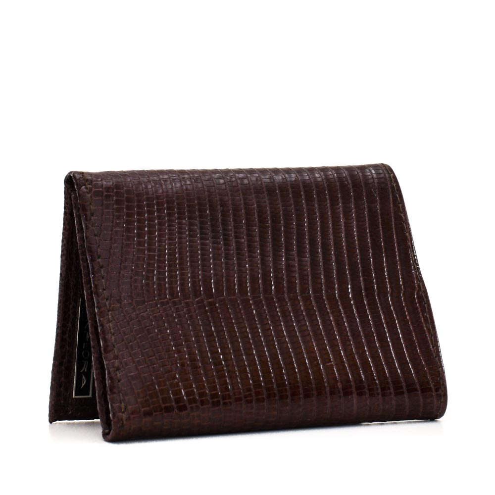 Leather Implora Brown Monitor LizardTrifold Wallet