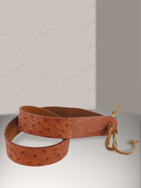 Ostrich Leathers Implora Tan Ostrich Skin Hatband 1W