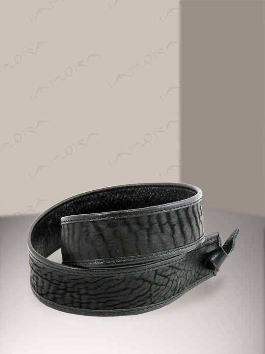 Leather Implora Black Shark Skin Hatband 1inW