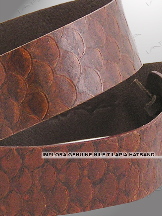 Implora Brown Nile Tilapia Fish Skin Hatband 1W