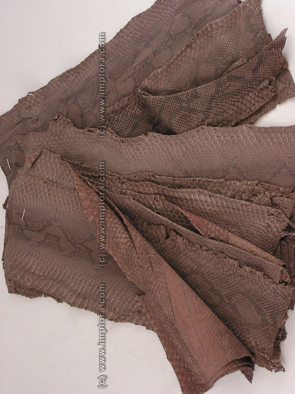 Leather Brown Python Snake Skin Soft Scraps
