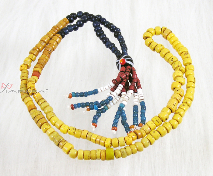 Genuine Old Dayaknese Stone and Glass Beads Necklace