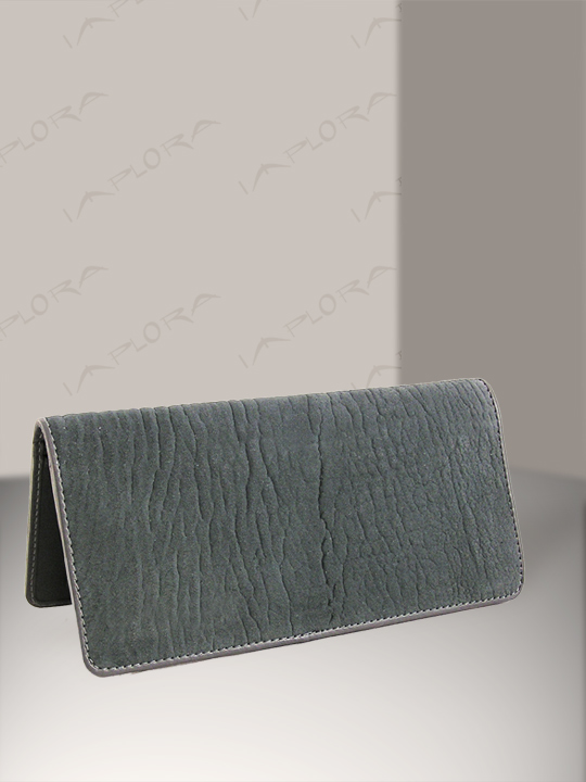 Leather Implora Gray Shark Checkbook Cover