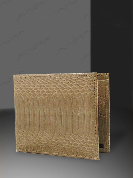 Snakeskins Implora Tan Cobra Bifold Wallet w/ID Belly