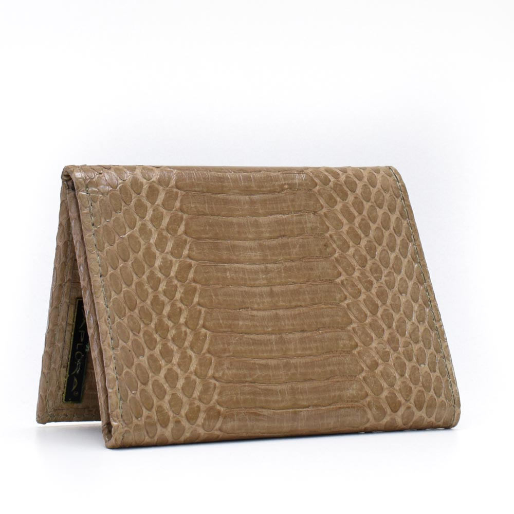 Snakeskins Implora Tan Cobra Trifold Wallet w/ID Belly