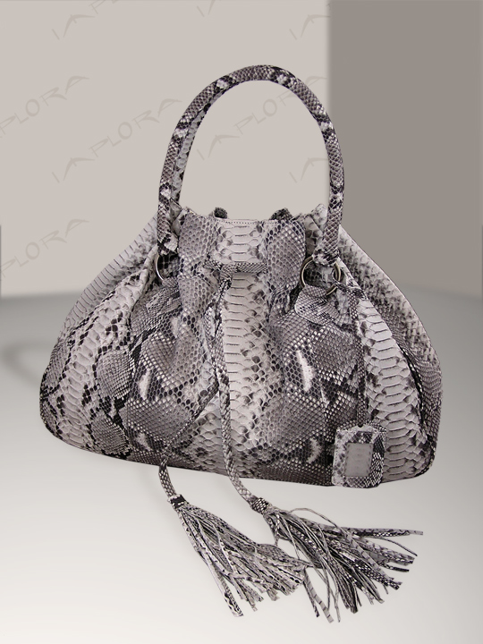 Snakeskins Implora Natural Python Hobo Style Bag Large