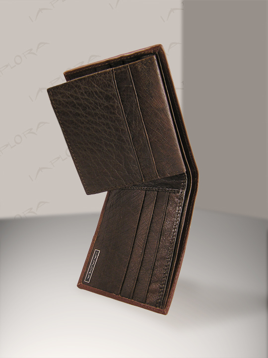 Implora Ostrich Bifold Slim Wallet Dark Brown