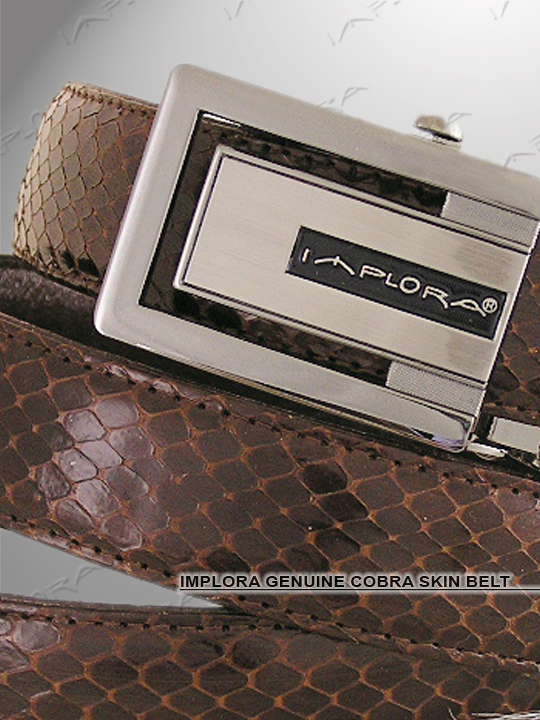 Implora Brown Cobra Snake Skin Belt XXL