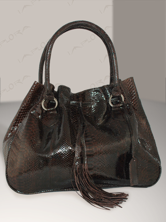 Implora Cognac Brown Python Hobo Style Bag Large