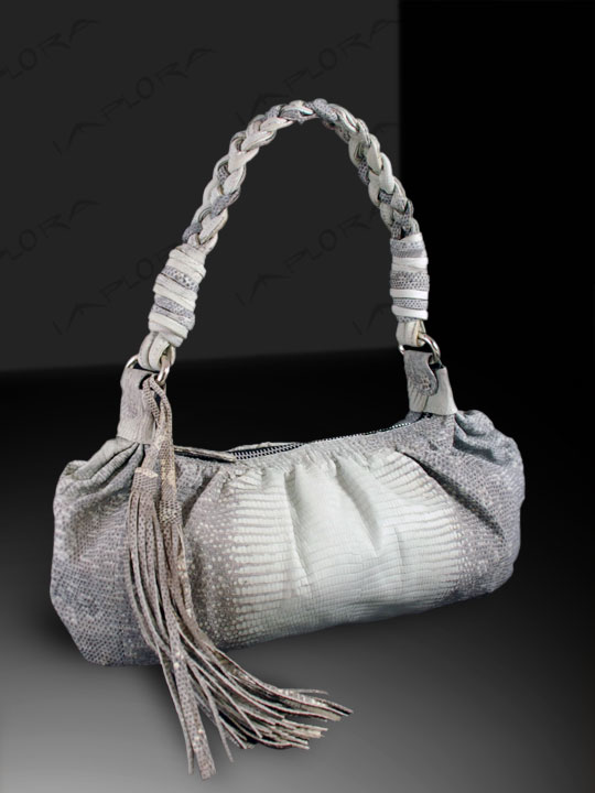 Leather Implora Natural Lizard Skin Braided Bag