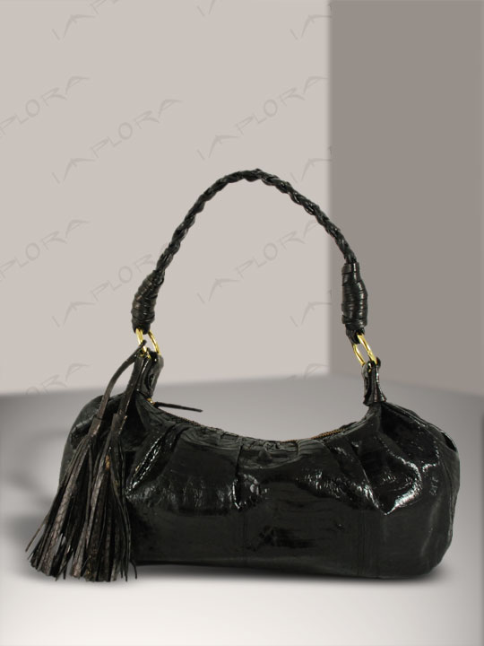 Snakeskins Implora Black Cobra Skin Braided Tassel Bag