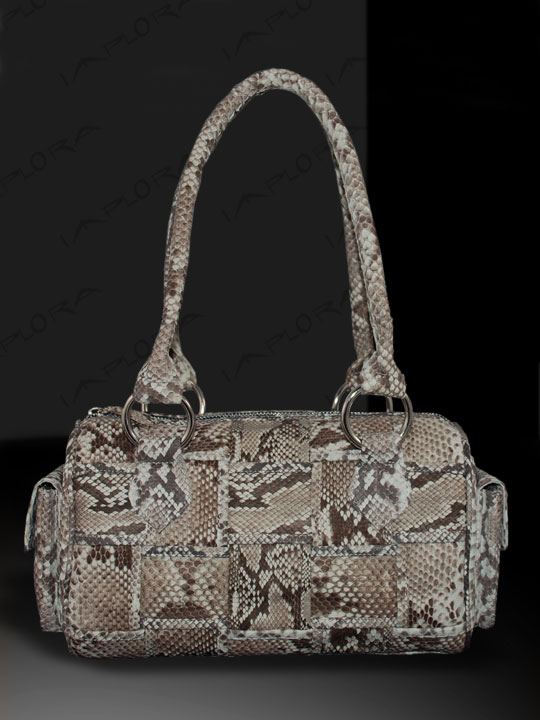 Snakeskins Implora Natural Python Skin Woven Satchel Bag