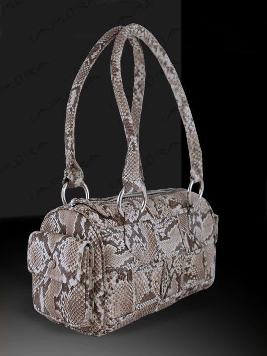 Implora Natural Python Skin Woven Satchel Bag