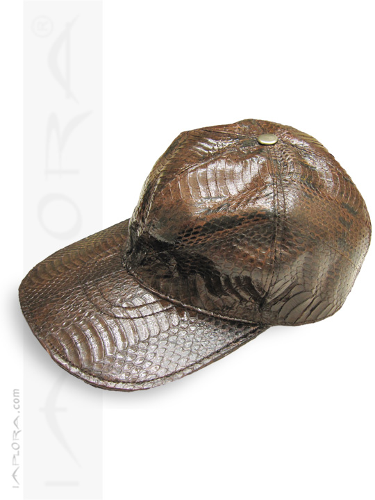 Snakeskins Implora Dark Brown Cobra Snakeskin Baseball Cap Hat