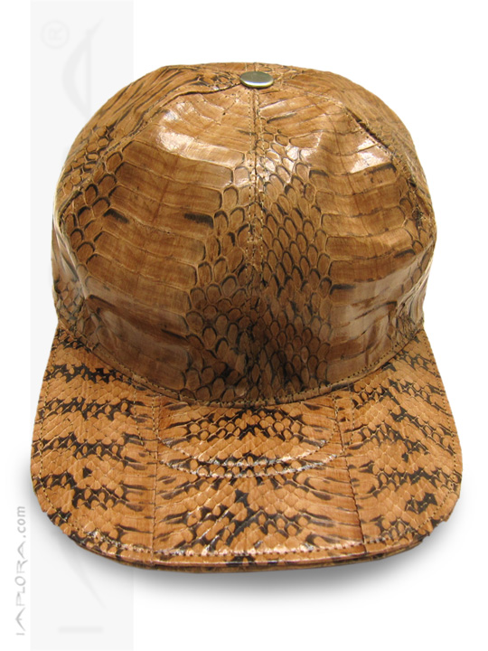 Implora Light Brown Oriental Rat Snakeskin Baseball Cap Hat